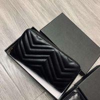 محفظة مصمم جديد للنساء العلامة التجارية محفظة طويلة محفظة للسيدات حقيبة مخلب حقيبة مع صندوق مصمم billetera