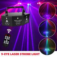 9-göz RGB Disko DJ Lambası DMX Uzaktan Kumanda Strobe Sahne Işık Cadılar Bayramı Noel Bar Parti LED Lazer Projektör Ev Dekorasyonu Y201006