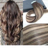 Remy Tape en extensiones de cabello Balayage Color Dark Brown # 2 Desvanecimiento a la rubia # 27 MIXTO # 3 UNCROCESSD Real Hairs sin costura 100 g 40pcs