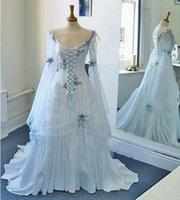 빈티지 셀틱 웨딩 드레스 흰색과 옅은 블루 플러스 사이즈 중세 신부 가운 특종 고딕 양식의 코르셋 긴 벨 슬리브 아플리케 꽃