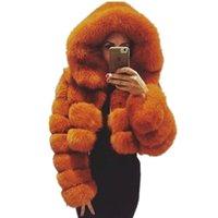 Fursarcar Doğal Gerçek Kadın Fox Kürk Ceket Hood ile Lüks Kadın Kürk Kırpılmış Ceket Kalın Sıcak Moda Kış Hakiki Kürk Mont 201111