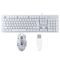 Conjunto de teclado y ratón USB cableado 104 teclas Teclado Mouse Combo Sensación mecánica para juegos de notebook Office1
