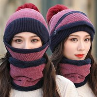 Brand New Beanies Hat Women Sets 3 Knit Skullies Hats With Bib Mask Female Winter Velvet Thick Warm Knitted Wool Cycling Caps