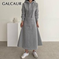 GALCAUR Vintage Dress For Women Hooded Collar Long Sleeve Lo...