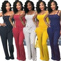 النساء السيدات clubwear الصيف playsuit بذلة رومبير السراويل الطويلة البولكا dots حزب السراويل زائد الحجم Y200106