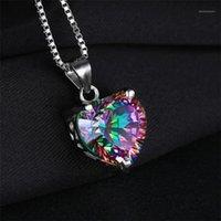 Kolye Kolye Kuniu Antik Gümüş Renkli Kristal Kakma Zirkon Tarzı Kaplama Mistik Gökkuşağı Topaz Kalp Şeklinde Kolye Jewelry1