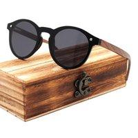 Güneş gözlüğü moda klasik doğal orijinal yuvarlak tasarım tek parça ceviz ahşap kadın polarize ayna kaplama UV400 lens