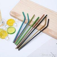 الملونة الفولاذ المقاوم للصدأ القش قابلة لإعادة الاستخدام مستقيم ومثني شرب القش القش الإيكولوجية الصديقة شريط أدوات الشرب ماصة معدنية ملونة CMP01-04