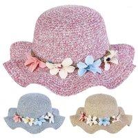 قبعات القبعات 2021 الصيف الطفل القش قبعة الشمس زهرة تنفس الاطفال بوي بنات ماركة طفل الأميرة الأزهار كشكش الجانب كاب 1