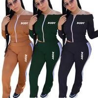 여성 디자이너 Tracksuits 바디 글자 어깨 롱 슬리브 지퍼 자켓 바지 자수 두 조각 복장 스포츠 정장 D102805
