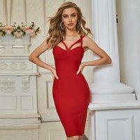 Seamyla 2020 Novo Verão Vermelho Sem Mangas Bodycon Bandagem Dress Mulheres Sexy Spaghetti Strap Celebridade Evening Party Vestidos1