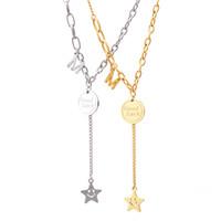 Titanium Steel 18k позолоченные улыбающиеся звезды кулон ожерелье в хорошем виде Бумага письма ожерелье ювелирные изделия для женщин