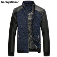 NaranjaSabor Autumn Men's PU Leather Patchwork Jackets Fashion Slim Fit Coat Male Outerwear Stand Collar Men Brand Clothing N429