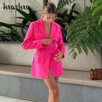 HAWTHAW Femmes Spring Fashion Mode Été À Manches Longues V Coule Blazer Blazer sur mesure Business Manteau 2021 Vêtements femme Streetwear