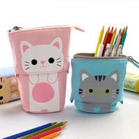 مضحك الكرتون القلم حقيبة مقلمة حالة مرنة تتكشف الحقيبة الحقيبة أضعاف الأقلام حامل القط كيتي القط الدب اللوازم المدرسية