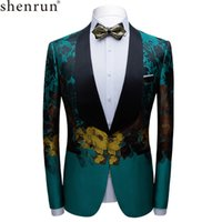 Shenrun Men Blazer Stage Costume Banquet Groom Giacca Tuxedo Giacca Party Prom Host Cantante Dancer Ball Musician Big Shawl Risvolto 201104