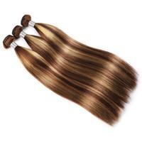 밍크 브라질 바디 웨이브 스트레이트 하이라이트 4/27 인간의 머리카락 번들 처리되지 않은 인간의 머리카락 확장 브라질 바디 헤어 짜다 번들