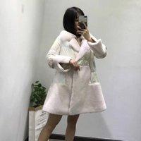 진짜 양 모피 코트 플러스 사이즈 Abrigos Mujer Invierno 한국어 화이트 다운 재킷 치마 스타일 파카 칼라 의류 KG-5