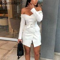 Glamaker Sexy White Off Pleeble Blazer платье женщины вечеринка с длинным рукавом Bodycon платье мода элегантный клуб женское короткое платье T200319