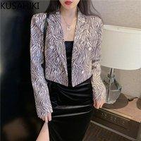 Frauenanzüge Blazer Kusahiki Koreaner Streifen Frauen Blazer Mantel Kausal gekerbte Kragen Kurzer Anzug Jacke 2021 Frühling Zweireiher 6F177