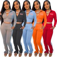 Kadın Ceket + Pantolon Jogger Suit İki Adet Hırka Mektup Vücut Eşofmanlar Güz Kış Sweetsuits Uzun Kollu Kıyafetler Loungewear Sportswear 4343