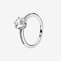 مجوهرات كبيرة CZ الماس ولي العهد الزفاف RING المرأة بنات الاشتباك مع مربع لريال فضة متألقة ولي خواتم