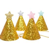 Goldener Glitter-Geburtstags-Hut mit Stern-Party-Baby-Duschkultur-Stirnband-Foto-Requisiten Kinder-Party-Dekor 223 J2