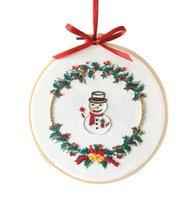 Inicio caliente de Navidad DIY bordado kit de inicio con el patrón de Navidad temática del bastidor de bordado de algodón del paño de lino Hilo de la costura de costura artesanal