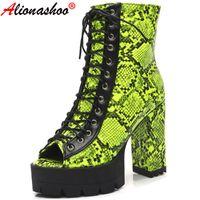 부츠 Aliona Shoo 플랫폼 Peep Toe 가을 발목 여성용 뱀 인쇄 여성 신발 레이스 업 오토바이 영국 스타일 35-43