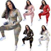 Herbst Winter Frauen Trainingsanzüge 2 Stück Sätze Briefjacke Hosen 2XL Yoga Strickjacke Leggings Casual Bekleidung Sportswear Oberbekleidung Outfits 4341