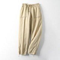 Women's Down Trousers White Duck Down Elastic High Waist Harun Casual Pants Slant Pockets On Both Sides Drawstring At Hem