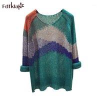 Fdfklak arcobaleno a righe maglione donne allentato autunno 2019 nuovo pullover lazy chic chic knit maglia maglioni maglioni sottili selvatici femminili tops1