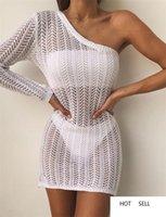 Kadın Seksi Hollow Out Elbise Yaz Tasarımcı Bir Omuz Plaj Dantel Kirli Hava Dişiler Beyaz Kalem Elbiseler
