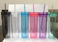 16oz Acrylic Skinny Tumbler with Lid and Straw Double Walled...