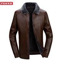 Мужские меховые искусственные FGKKS Толстая кожаная куртка мужчины зимняя осень мода лацка ветрозащитный теплый мужской одежды