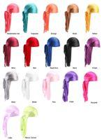 Adam ucuz ipek uzun kuyruk eşarp kap erkek saten Durags bandana türban peruk erkekler ipeksi durag şapkalar korsan şapka 13 renkler