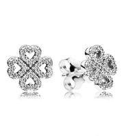 Pendientes auténticos del corazón del corazón del amor de plata 925 de las mujeres para Pandora CZ CD Diamond Wedding Jewelry Pendientes con caja original