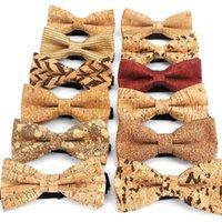 Boyun Kravatlar Cork Ahşap Moda Yay Erkek Yenilik El Yapımı Katı Boyunback Düğün Adam Hediye Aksesuarları Erkekler Için Bowtie