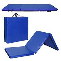 Складная гимнастика, кувыряющийся коврик - очень толстый с ручками для переноски - для упражнений, йоги, фитнеса, аэробики, боевых искусств, кардио синего цвета