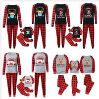 Buffalo Plaid Equipamentos de Natal Pijamas Set Família Matching 2020 2021 Máscara rena Papai Noel blusa e calças Início Noite Roupa E110301