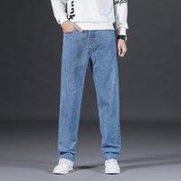 Männer Jeans Frühling und Herbst 2021 Casual Blue Mode Regular-Fit Stretch Classic Light Hose Große Größe 40