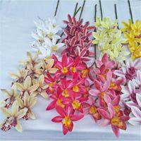4P Искусственный латекс-цимбидиум Орхидея Цветы 9 головок Real Touch Хорошее качество Фаленопсис орхидея для свадьбы декоративный цветок1