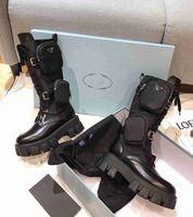 Frauen Designer ROIS Boots Knöchel Nylon Kampfstiefel und Martin Boots Designer Winter Martin Knöchel Nylon Bouch Angehängter Knöchel mit Kasten