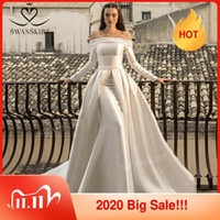 Vestido de novia de satén moldeado de la sirena 2 en 1 vestido de novia de tren desmontable 2020 de encaje hasta la princesa Swanskirt N301 Vestido de novia Q1112