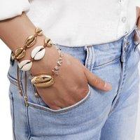 Gold Color Cowries Shell Braccialetti per le donne delicate Catena corda Braccialetto Bracciale perline Beach Jewelry Charm Braccialetto bohémien