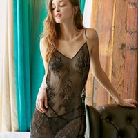 Ropa de dormir de las mujeres Lisacmvvnel Blackless Sexy Mujeres Nightdress Lace Hollow Out Proff V Spaghetti Strap T Set Pijama1