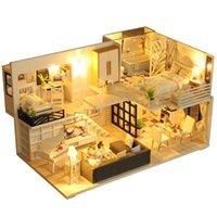 Doll House Mobili in legno in miniatura Kit fai da te con copertina di polvere scatola di musica assemblea crafts giocattolo migliore regalo di compleanno per bambini ragazza T200116