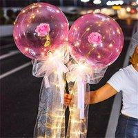 LED aydınlık balon gül buketi şeffaf bobo topu gül Sevgililer günü hediyesi doğum günü partisi düğün dekorasyon balonlar dwa3059