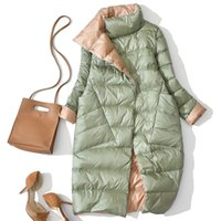 Duck de inverno para baixo jaqueta para mulheres pato branco para baixo casaco duplo lado desgaste neve longa parkas morno femal outwear roupas de marca 201104