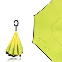 역방향 유형 C 우산 손 무료 긴 손잡이 doubledeck sunshade fashion umbellas 독창성 자동차 색깔 자외선 방지 핫 세일 17xy m2